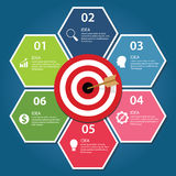 Business target infographic dart board arrow concept of goals achievement. Vector royalty free illustration