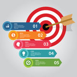 Business target infographic dart board arrow concept of goals achievement world map. Vector Royalty Free Stock Photos