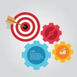 Business target infographic dart board arrow concept of goals achievement world map. Vector Stock Photos