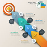 Business target marketing concept. Target with arrows and line icons for 4 steps. Can be used for workflow layout, banner, diagram, web design, infographic Vector Illustration