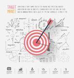 Business target marketing dart idea. On creative thinking drawing charts and graphs success strategy plan ideas, Inspiration concept modern template layout Royalty Free Stock Photo