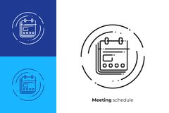 Business calendar line art vector icon. Business targets checklist line art icon, digital investment schedule vector art, outline financial to do list Stock Photography