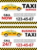Business taxi service design over white background. Detailed illustration of yellow car. Vector flat illustration Royalty Free Stock Photos