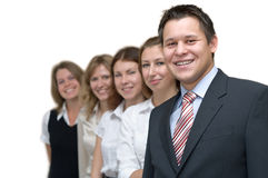 Business team. Five business persons a team standing in a row. On a white background Stock Photos
