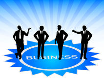 Business team. On blue star Royalty Free Stock Image