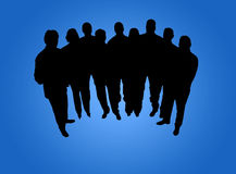 Business team. Silhouete in blue background vector illustration