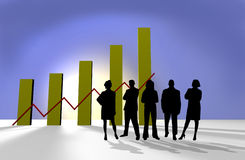 Business team. Silhouettes in front of finance chart, 3d illustration Royalty Free Stock Image
