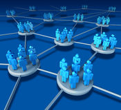 Business Team. Work success as a communication network on blue with business people working in partnership in connected networking teams as a financisal Stock Image