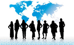 Business team. Vector women silhouettes stock illustration