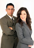 Business team. A Latino man and Caucasian woman business team Stock Photos