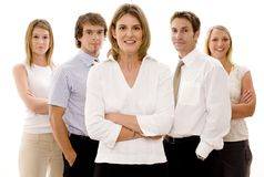Business Team. Five attractive business men and women (slightly shallow depth of field Stock Photos