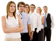 Business Team. Six young business colleagues in a line (shallow depth of field Stock Image