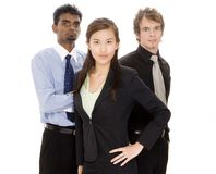 Business Team. Three diverse individuals make a small business team Royalty Free Stock Photos