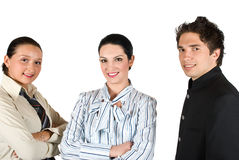 Business team. With smiling leader woman in middle of younger colleagues isolated on white background,check also Business people ,laptop and money Royalty Free Stock Photo