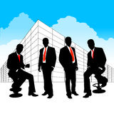 Business team. Peoples in front of company Stock Image