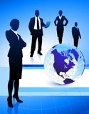 Business Team on Abstract Globe Background Royalty Free Stock Photography