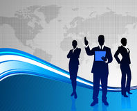 Business Team on Abstract World Map Background Stock Photos