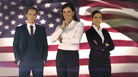Business team against american flag. Digital composite of Business team against american flag stock footage