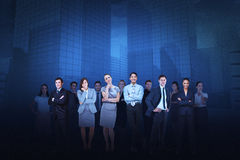 Business team against cityscape background Stock Photos
