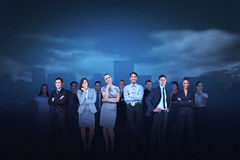 Business team against cityscape background Royalty Free Stock Photos