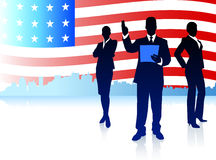 Business Team with American Flag Background Stock Image