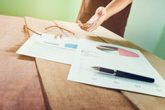 Business team analyze financial numbers. Royalty Free Stock Photos