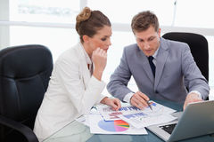 Business team analyzing market research Royalty Free Stock Image