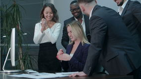 Business team applauding during meeting in the office stock footage