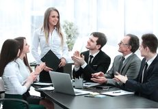 Business team applauding the speaker at the meeting. Photo with copy space stock photos
