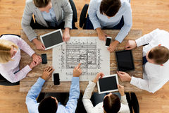 Business team or architects with blueprint Royalty Free Stock Images