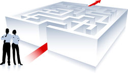 Business team on background with maze. Original Vector Illustration: Business team on background with maze Stock Photos