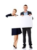 Business team with a banner Royalty Free Stock Images