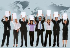 Business team with banners Stock Photos