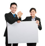 Business team with big blank card Stock Images