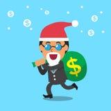 Business team and big money bag with christmas theme Royalty Free Stock Image