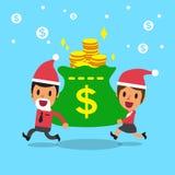 Business team and big money bag with christmas theme Stock Photo