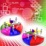 Business team with bigger pie chart and percentage Royalty Free Stock Images