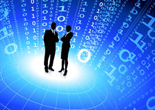 Business team with binary code internet background Stock Photography