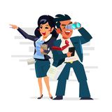 Business team binoculars and smart gadget looking for new opportunities. Vector illustration royalty free illustration
