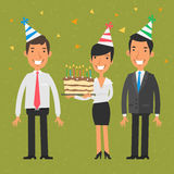 Business team and birthday vector illustration