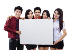 Business team and blank billboard Stock Photo