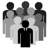 Business team with boss leader. Illustration of a business team. The boss leader is in front and then the rest of the Group behind him. the boss is wearing a Royalty Free Stock Images