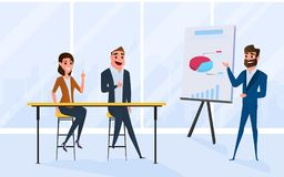 Business team brainstorm, talking, discussing in meeting room. Presentation of the project and plan market. Cartoon Vector Illustration stock illustration