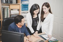 Business team brainstorming in office space royalty free stock image