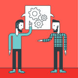 Business team brainstorming. Two young businessmen sharing ideas and a speech bubble with gears above their heads. Business partnership concept.  Vector line Royalty Free Stock Images