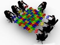 Business team building a color puzzle. 3d business team work building a color puzzle   a white background Stock Photo