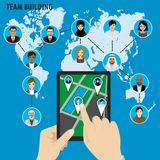 Business Team building. Different avatar people on world map. Smart technology.Horizontal composition., flat design. Vector illustration Royalty Free Stock Photography