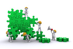 Business team building a puzzle stock illustration