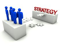Business team is building strategy. Abstract concept with puzzle and white background Stock Photos