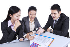 Business team busy at a meeting Royalty Free Stock Image